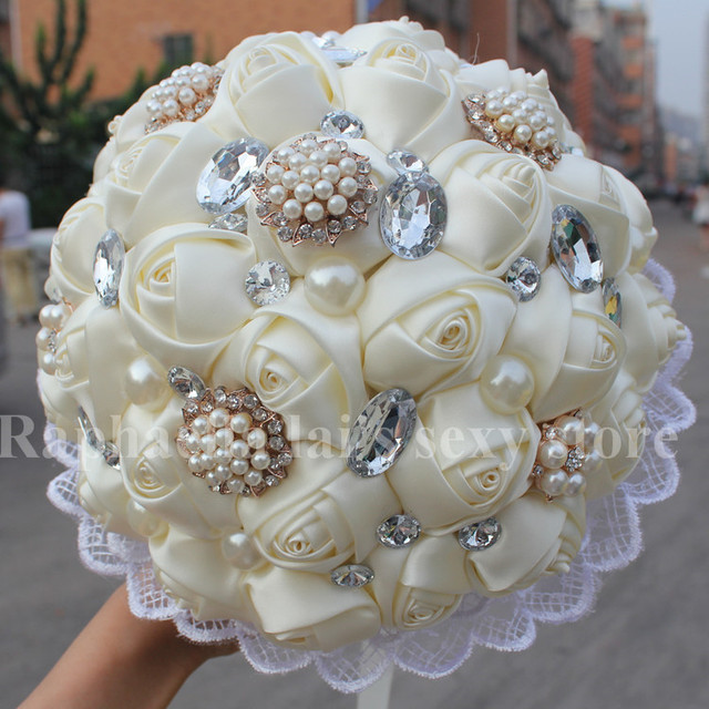 making wedding bouquets with artificial flowers new wedding ivory silk wedding bouquet decorative diy 5681