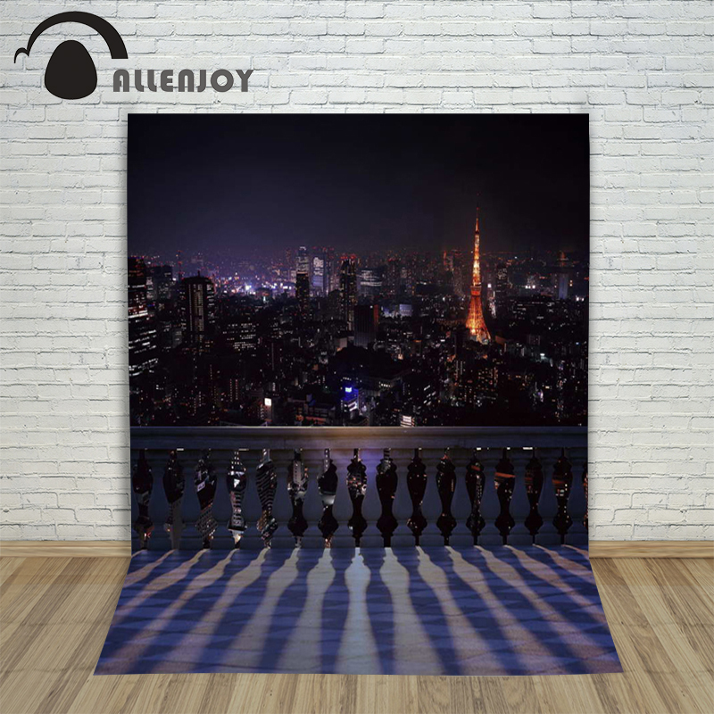 Allenjoy photo background city street night balcony night tower background for photography studio