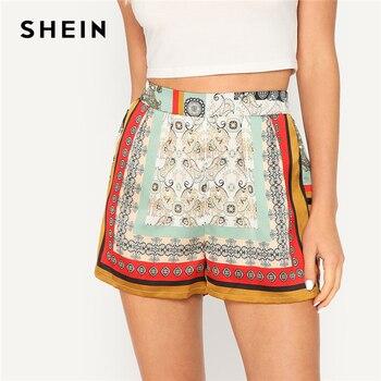 SHEIN Bohemian Multicolor Elastic Waist Scarf Vintage Print Shorts Women Summer 2019 Mid Waist Straight Leg Shorts