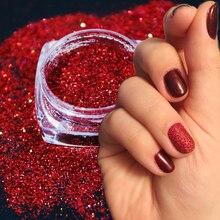 Poudre à ongles holographique paillettes brillantes, 1 boîte de manucure, décoration pour Nail Art, poussière, holographique, TRL01 16 1