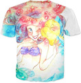 Русалочка Акварель Футболка cartonn футболка женщины красочные harajuku летние футболки топы мужчины 3d футболки одежда
