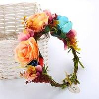 Flower Crown Wedding Bride Wreath Of Flowers On The Head Women Hair Accessories Flower Headband Headpiece