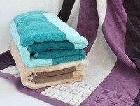 Free Shipping 100 Cotton Luxury Stripe Bath Towel For Adult Purple Khaki Green 360g 70 140cm