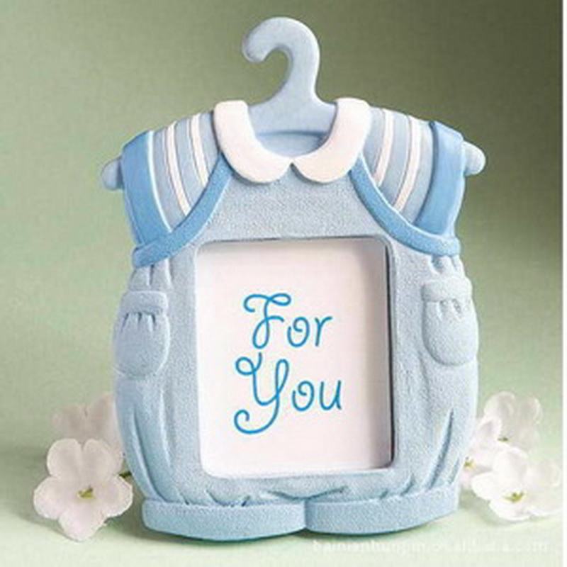 FREE SHIPPING+Blue Clothes Design Picture Frame Place Card Holder Baby Boy  Shower Favor Newborn Baptism Gift For Guest+80pcs/LOT