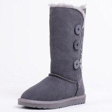 2016 Women's australia boots women winter snow boots Knee High Genuine Leather boots women botas mujer 06