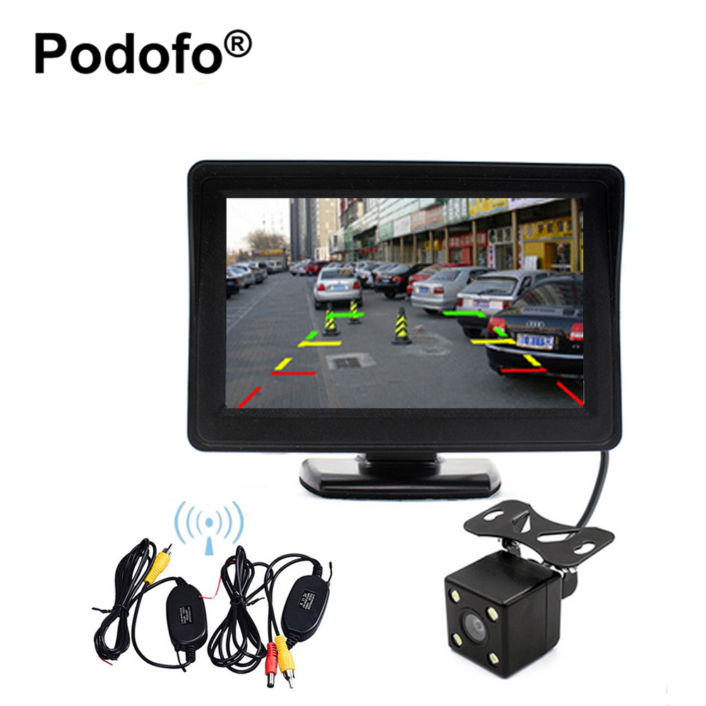 Podofo Sans Fil 4.3 Voiture Moniteur De Sauvegarde Caméra Arrière de Vision Nocturne Imperméable À L'eau Caméra De Recul + 2.4G Transmetteur & récepteur