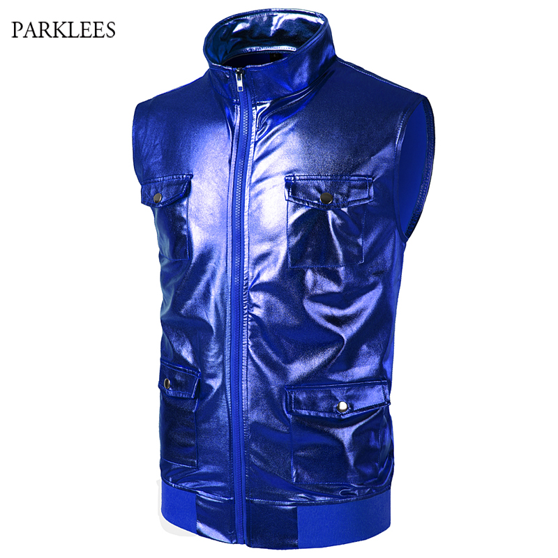 Shiny Gold Coated Metallic Night Club   Tank     Top   Men 2018 New Stage Dance Mens   Tank     Tops   Cool 4 Pocket Zipper Sleeveless   Tops   Tee