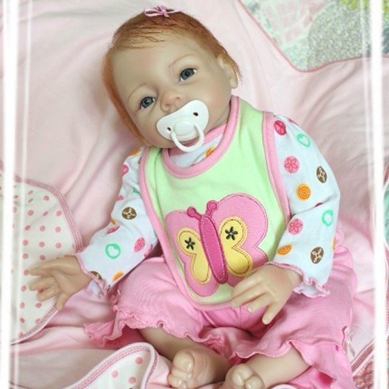 22inch Magnetic Mouth Reborn Baby Girl Doll Realistic Soft Silicone Lifelike Toy Gift for Children Butterfly Pink Dresses ins hot swan soft toy cute ballerina moon cushion pink home sofa decoration pillow baby appease music doll kidstoy gift for girl