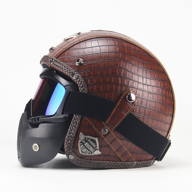 Leather Motorcycle Helmet