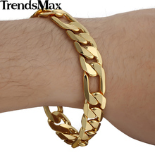 Trendsmax 12mm Wide Cut Figaro Link Yellow Gold Filled Bracelet Men Chain Fashion Jewelry GB365