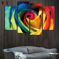 HD Print Colorful Flower 4PC Canvas Art With Framed Wall Pictures For Living Room Large Modern