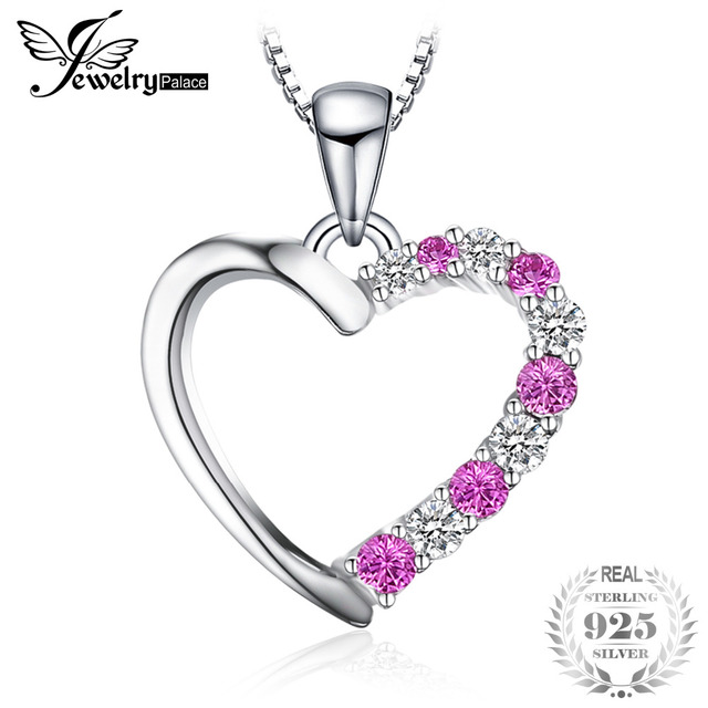 JewelryPalace Romantic 0.6ct Created Pink Sapphires Heart Pendant Genuine 925 Sterling Silver Wedding Fine Jewelry Without Chain