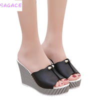 SAGACE 2018 Women Sandals Summer S Gladiator Fish Mouth Hot Sale Rhinestone Platform High Heels Shoes