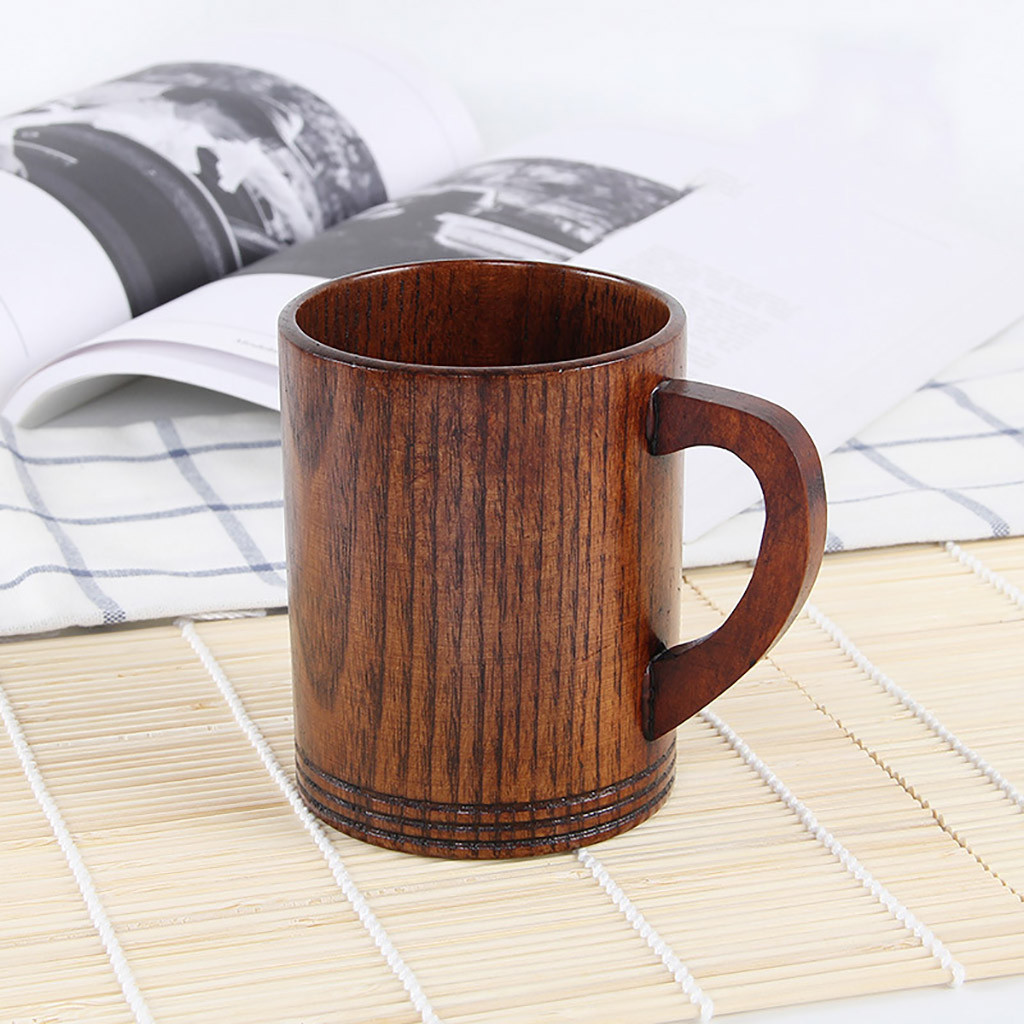 Natural Small Handmade Solid Wood Tea Cup Wooden Wine Coffee Water Mug Drinking