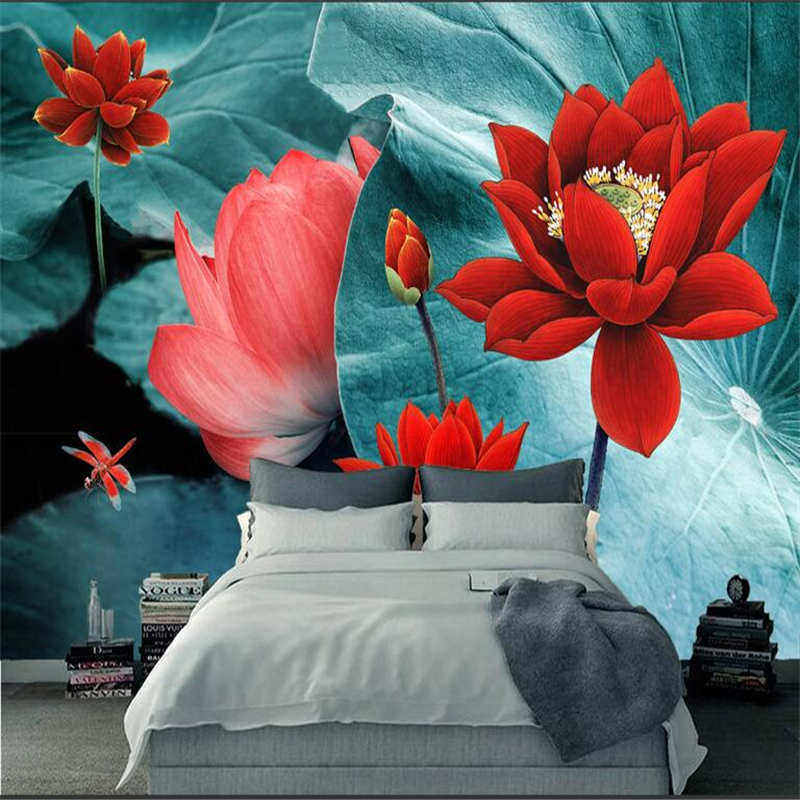 Custom Photo Wall Mural Color Ink Lotus Embossed Wall Paper TV Background Study Bedroom Kitchen 3d Wall Murals Living Room custom wall papers home decor flamingo sea 3d wallpaper murals tv background kitchen study bedroom living room 3d wall murals