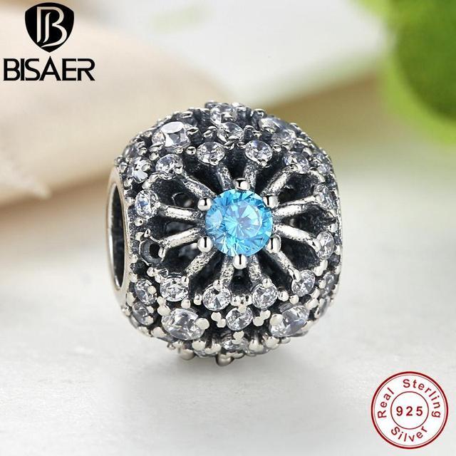 BISAER 100% Puro de 925 Libras Esterlinas de Prata Desejo da Cinderela Azul Cristal Grânulos de Charme fit Pulseiras Jóias Acessórios originais