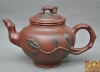 wedding decoration Old Chinese Yixing Zisha pottery Hand carved peach leaf Teapot tea set tea maker