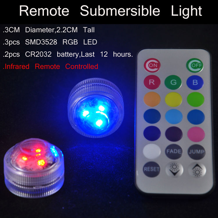 100pcs Free Shipping Remote Lights Colorful Submersible led light party decor under vase ...