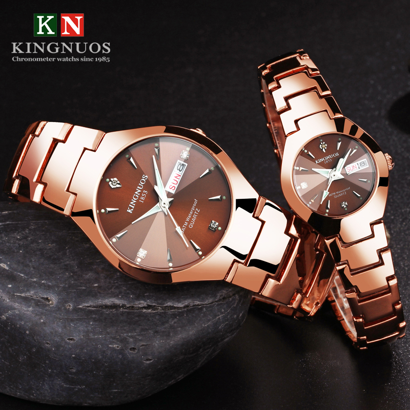 1Pair Couple Watches Top Luxury Quartz Watches Date Week Stainless Steel Clock For Men Women Luminous Lover Wristwatch+Box