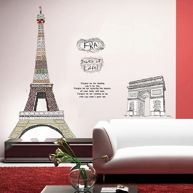 Aliexpress.com : Buy Paris Eiffel Tower Living Room Decor Large Vinyl Wall  Art Decals Bedroom 3D Wallpaper150*108cm From Reliable Sticker Bomb  Suppliers On ...
