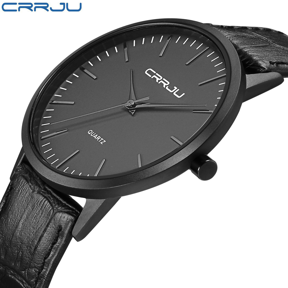 New Fashion Mens Watches CRRJU Brand Luxury Men Black Casual Quartz Wrist Watch Male Ultra Thin Leather Strap Clock Erkek Saat
