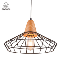 BDBQBL Vintage Metal Birdcage Pendant Lights 90 260V Iron Wire Cage Hanging Lamp for Living Room E27 Retro Dining Room Hanglamp