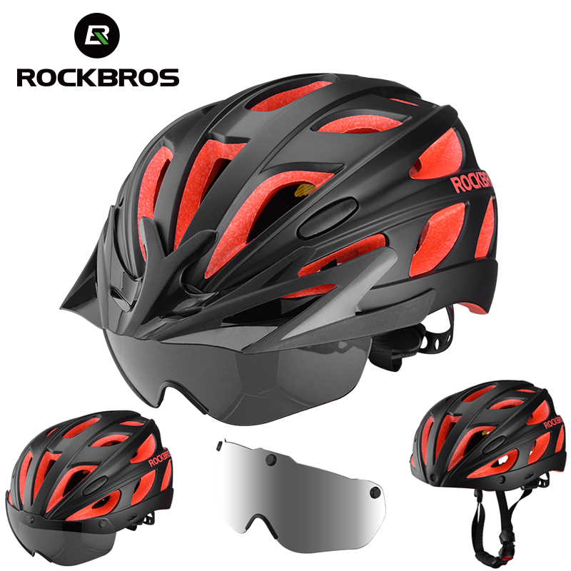 ROCKBROS Bike Helmet Magnetic Goggles Bicycle Helmet Men Women Cycling Helmets with Polarized Lens Visor Brim MTB Safety Protect