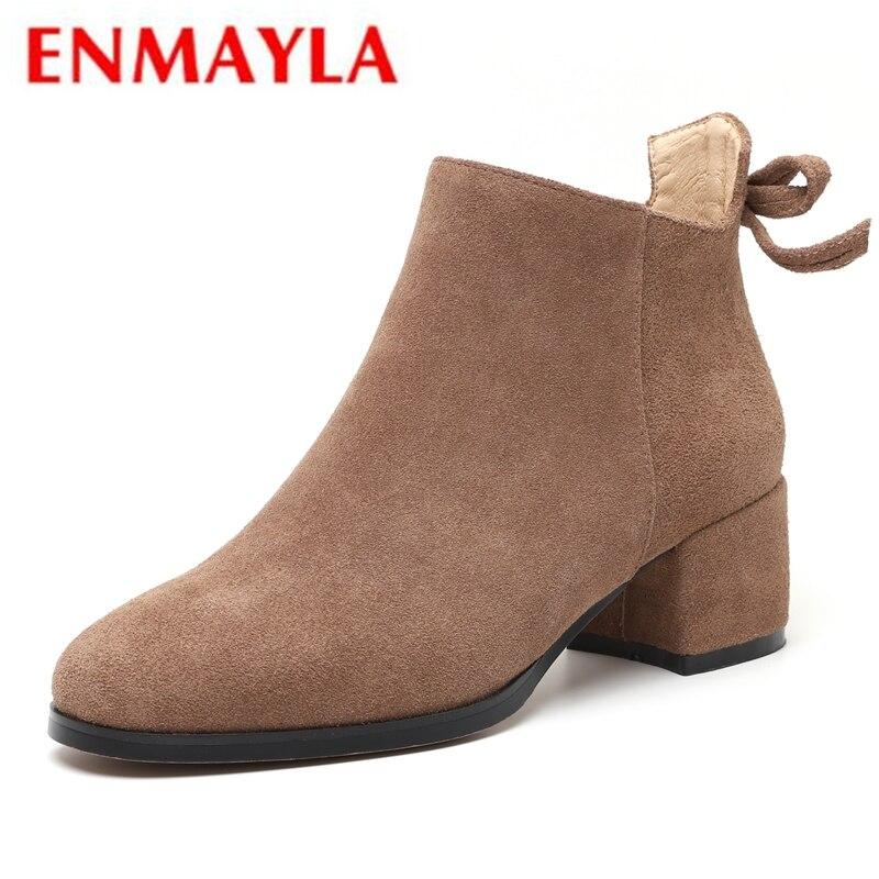 ENMAYLA/ботинки с круглым носком, женские ботильоны на молнии, женская обувь, женская обувь, Зимняя мода 2018, размеры 34-40, LY242
