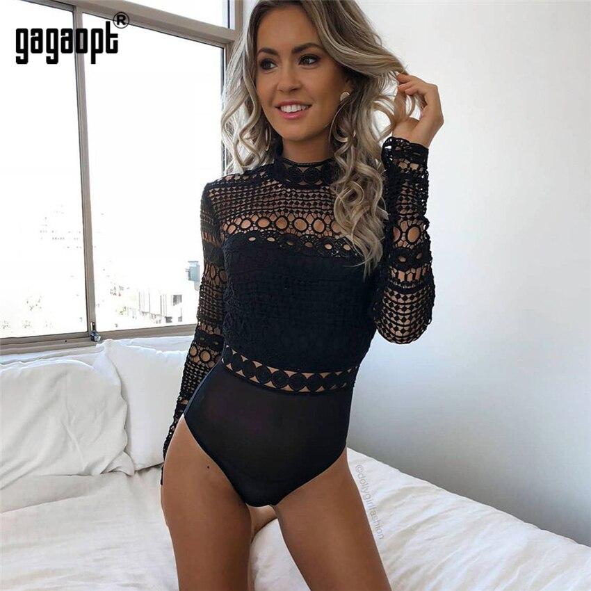 Gagaopt 2018 otoño Body de encaje negro de las mujeres de manga larga body Sexy señoras hueco Bodycon mono