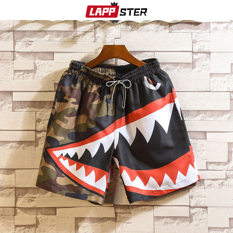 LAPPSTER Men Summer Patchwork Shorts 2020 Mens Streetwear Hip Hop Shorts Casual Shark Polyester Colorful Sweat Shorts Big Size
