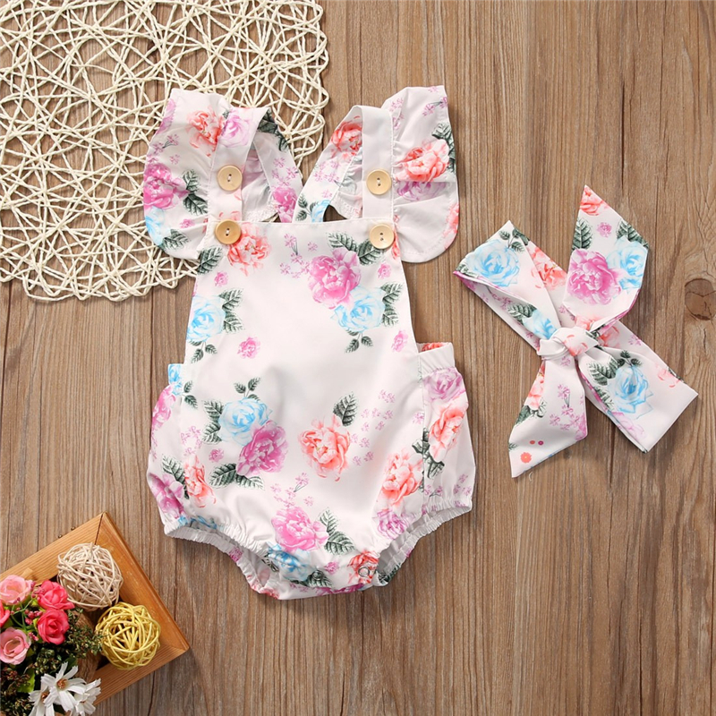 2019 Summer New Baby Girls Floral Fly Sleeve Bodysuit Jumpsuit Bow Headband Sunsuit 2Pcs Outfits