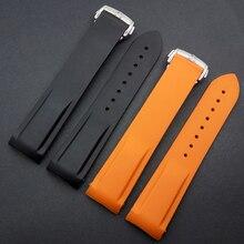 Изогнутый конец специальный интерфейс Резиновые Силиконовый ремешок для часов браслет Оранжевый Черный 20 мм 22 мм Смотреть Аксессуары сталь застежка