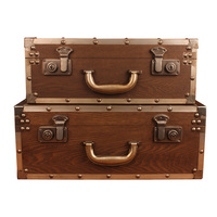 Creative Retro Wooden Suit Box Clothes Storage Box Luggage Case Wooden Decorations Vintage Bar Photography Props Window Display