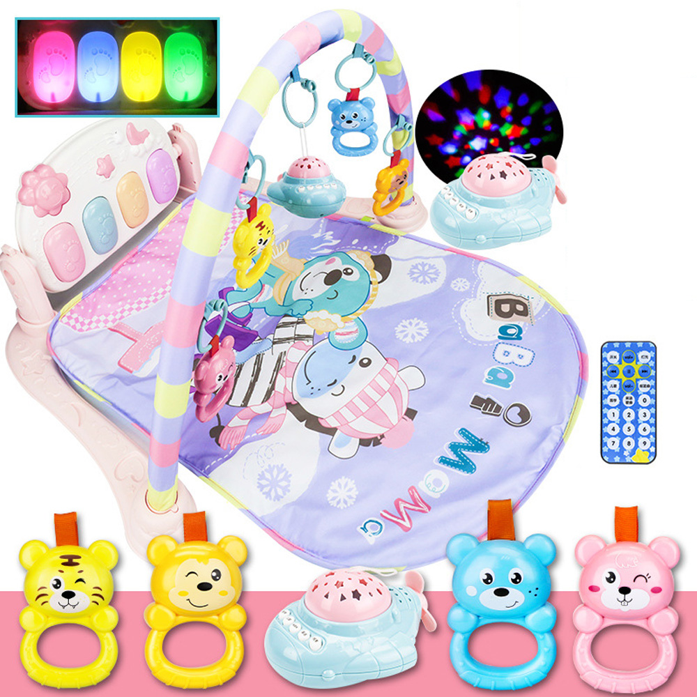 Baby Fitness Play Rug Multifunction Develop Crawling Music Mat w/ Keyboard Infant Play Carpet Rack Educational Toys Playing Pad