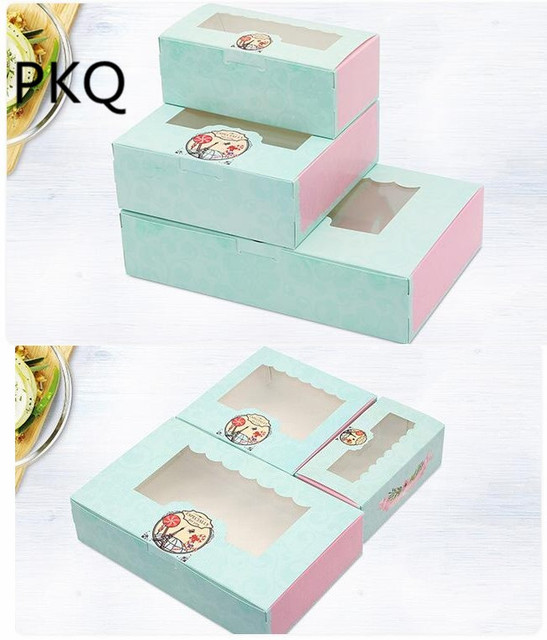 10pcs 3 sizes green kraft paper cake box with pvc window cookies biscuit cupcake packaging box