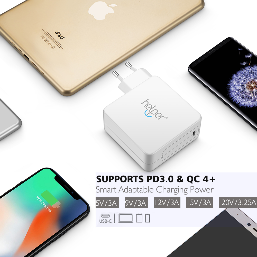 USB Type C Adapter Charger PD3.0 Quick Charger QC4+ for MacBook/Pro,Lenovo Yoga Dell Xiaomi Matebook and more USB-C devices usb c type c charger 87w 4 ports pd3 0 quick charge 4 0 smart desktop charger with power delivery for xiaomi air dell macbook