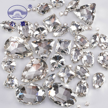 Mixed Shape White Crystal Rhinestones For Clothes Diy Clear Sew On Beads Glass Decorative With Claw 50PCS/PACK S038