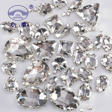 Mixed Shape White Crystal Rhinestones For Clothes Diy Clear Sew On Beads Glass Decorative Rhinestones With Claw 50PCS/PACK S038