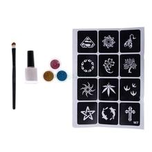 Temporary Shimmer Glitter Powders Tattoo Stencils Brush Glue Kit Body Art Supply