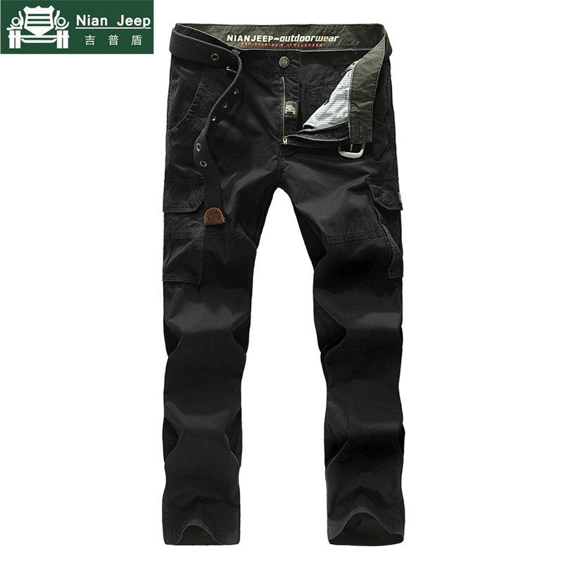 NIANJEEP 2018 New Fashion Cargo Pants Men Military Full Casual Cotton Loose Pockets Plus Size 42 Cargo pants pantalon homme