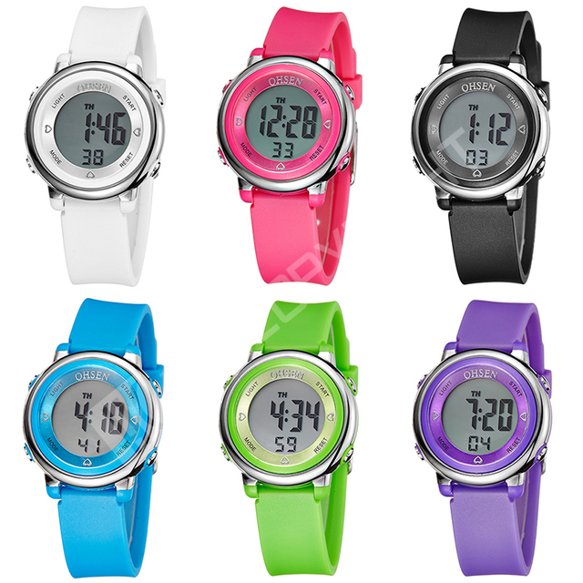 76cbf7ef8 OHSEN Candy Color Digital 6 Mode LED Kids Girls 30M Waterproof Wristwatch  Rubber Strap Child Watches Alarm Clocks Christmas Gift
