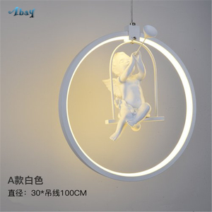 Image 5 - Nordic Aluminum Ring Girl Swing Pendant Light for Living Room Bedroom Study lovely Bird hanging lamp art deco kids Light Fixture