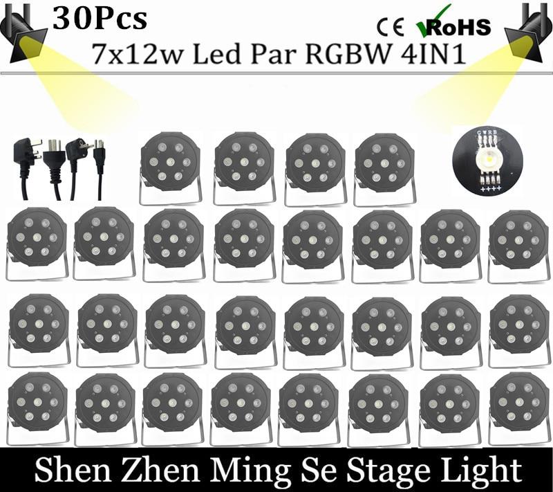 Fast shipping 3/lots 7x12w led Par lights RGBW 4in1 flat par dmx512 disco professional stage dj equipment