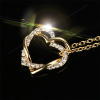 OTOKY gold color New Fashion Women Double Heart Pendant Necklace Chain Jewelry A#30