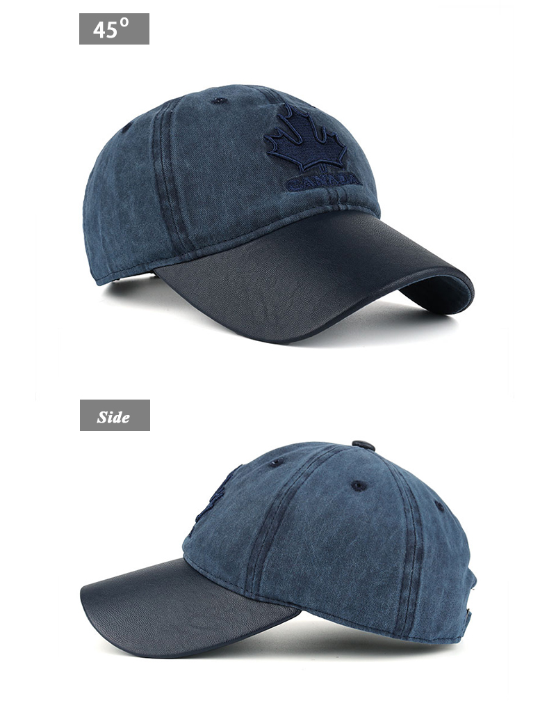 Embroidered Canadian Leaf Dad Hat - Front Angle and Side Views