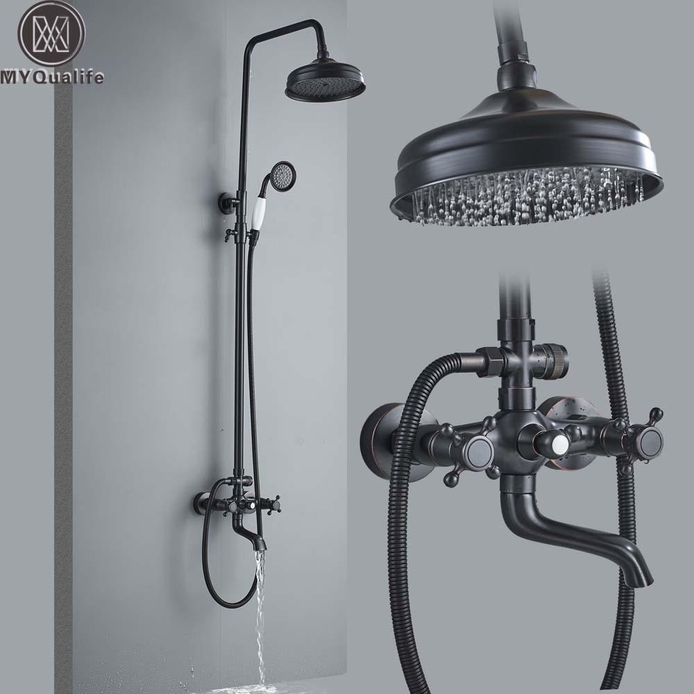 купить Bathroom Shower Faucet System Black 8 Rainfall Bath Shower Mixer Faucet Swivel Spout Sliding Bar Shower Column Tap Wall Mount недорого