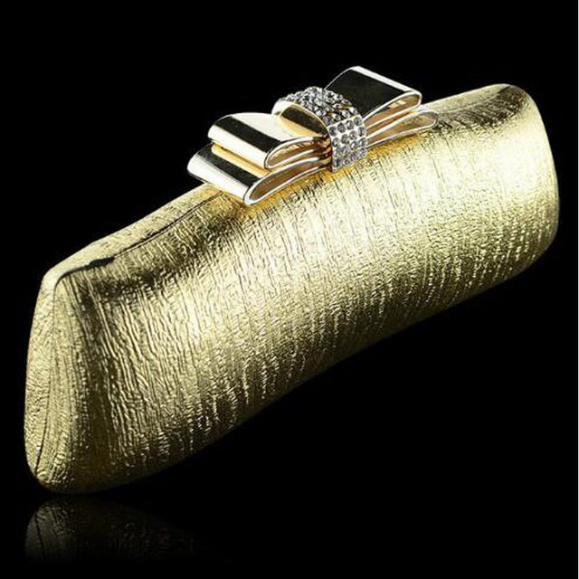 Women Glitter Gold Bow Diamond Clutch Evening Bags Purse Party Wedding Bridal Shoulder Bag Chain Night club Handbag Bolsos Li808