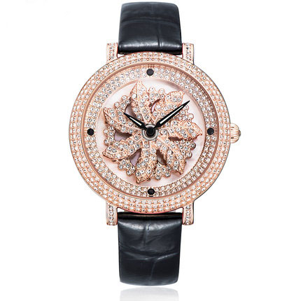 MATISSE Fashion Austria Crystal Rotatable Dial Big Dial Leather Strap Buiness Quartz Watch Wristwatch - Rosegold jubaoli rotatable bezel male watch quartz leather strap wristwatch