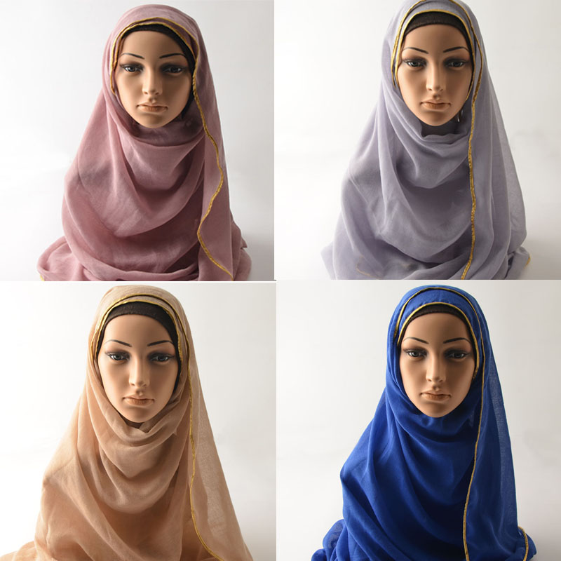 Soft viscose   scarf  ,Plain Muslim hijab,cotton plain   scarf   with gold trim,shawls and   scarves  ,  wrap   shawls solid color,women cape