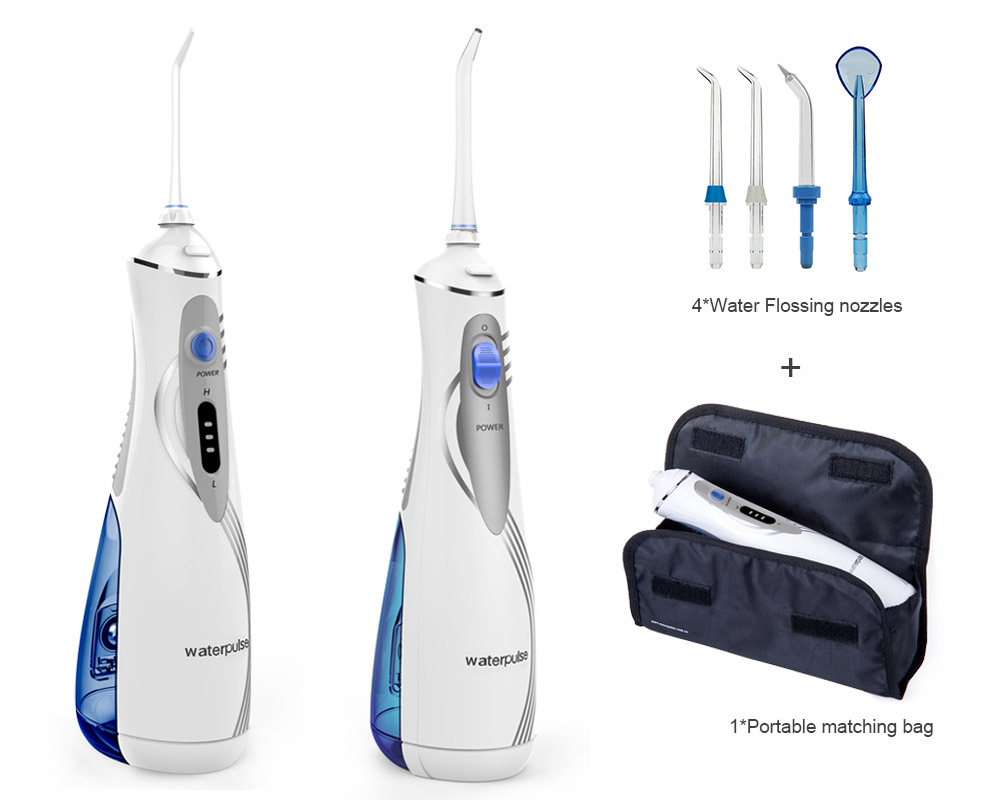 Portable led rechargeable Li Ion battry Oral Water Dental Flosser Irrigator, Waterpulse V400 Plus, Oral Hygiene tools with bag